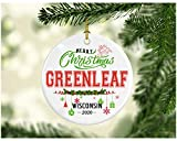 Christmas Decorations Tree Ornament - Gifts Hometown State - Merry Christmas Greenleaf Wisconsin 2020 - Gift for Family Rustic 1St Xmas Tree in Our New Home 3 Inches White