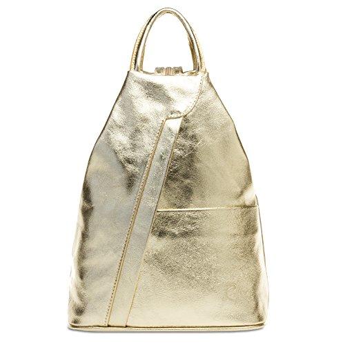 Caspar TL782 2 in 1 Leder Rucksack Handtasche, Farbe:gold, Größe:One Size
