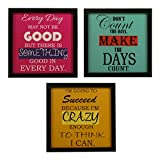 INDIANARA 3 Piece Set of Framed Wall Hanging Motivational Office Decor Art Prints