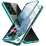 Jonwelsy Funda para Samsung Galaxy S21 Ultra, Adsorción Magnética Parachoques Metal con 360 Grados Protección Case Cover Transparente Ambos Lados Vidrio Templado Cubierta para Samsung S21U (Verde)