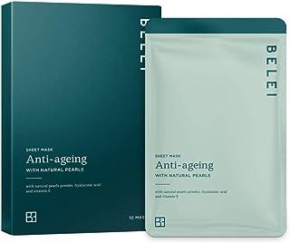 Amazon-merk: Belei – druppelvrij hydrogelmasker met anti-aging effect, met natuurlijke parels, verpakking van 10 stuks