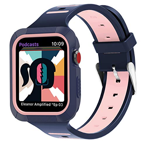 BRG Compatible for Apple Watch Band 38mm 40mm 42mm 44mm Series 5 4 3 2 1 with case,Women Men Soft Silicone Bands with Shockproof Bumper Case for iWatch Bands