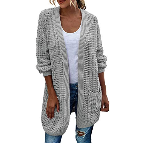 YUPENG Cardigan Women Elegant Temperament Oversize Solid Color Knitted Cardigan Coat Autumn and Winter New Women Sweater Cardigan Hollow Out Long Sleeve Sweater with Pockets S