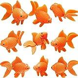 Sumind 15 Pieces Artificial Aquarium Fishes Plastic Fish Realistic Artificial Moving Floating Orange Goldfish Fake Fish Ornament Decorations for Aquarium Fish Tank