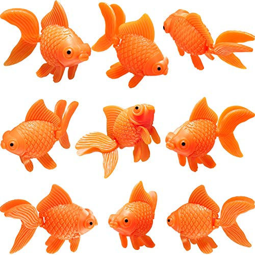 Sumind 15 Pieces Artificial Aquarium Fishes Plastic Fish Realistic Artificial Moving Floating Orange Goldfish Fake Fish Ornament Decorations for Aquarium Fish Tank