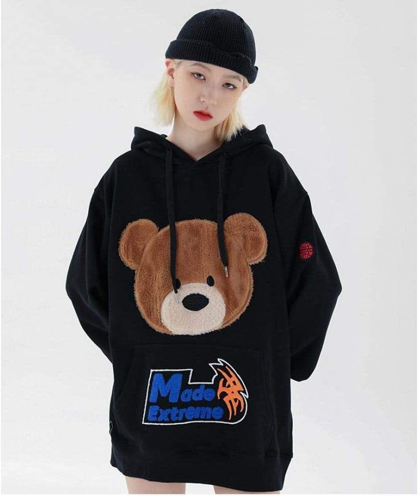 Hommes Hip Hop À Capuche Streetwear Ours Harajuku Sweat À Capuche en Coton Pull Lâche Sweat Shirt Noir A21369-1 Black