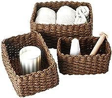 La Jolíe Muse Woven Storage Baskets, Recycled Paper Rope Bin Organizer Divider for Cupboards Drawer Closet Shelf...