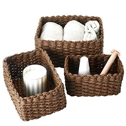 La Jolíe Muse Cesta almacenaje, Juego de Cajas de almacenaje, Cesta Toallas baño, cestas organizadoras baño, Caja de Almacenamiento de Cuerda de Papel Reciclado, Chocolate, Set 3