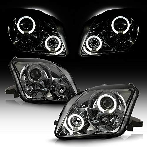 ACANII - For 1997-2002 Honda Prelude LED Halo Angel Eye Smoked Lens Projector Headlights Headlamps, Driver & Passenge