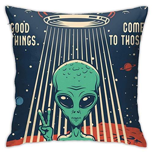 YUNYANG Retro Space Alien Posterplush Funda de almohada romántica sala de estar familiar dormitorio almohada 45,7 x 45,7 cm