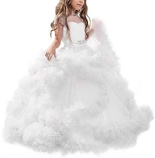 Longra Abito in Pizzo a Maniche Lunghe per Bambini Elegante Vestito da Principessa con Fiocco Fantasia Abito da Sposa Cerimonia sotto i 4 Anni
