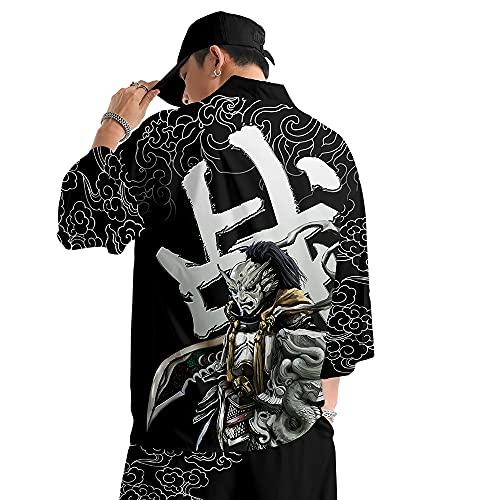 curtain Cárdigan Kimono Estampado para Hombre/Camisa con Tendencia a La Moda/Abrigo Fino de Primavera y Verano/Chaqueta Informal Unisex/S-6XL Gran Tamaño,Black-6XL