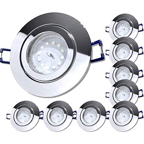 LED Bad Einbaustrahler 230V inkl. 9 x 5W SMD Modul Step Dimmbar Farbe Chrom IP44 Deckenleuchten Neptun Rund 4000K