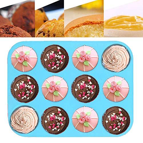 Silikon-Backblech für Muffins und Cupcakes, mit 12 Cupcakes, wiederverwendbar, Antihaftbeschichtung für Kekse, Cupcakes, Brownies, Muffins, Pudding, Blau