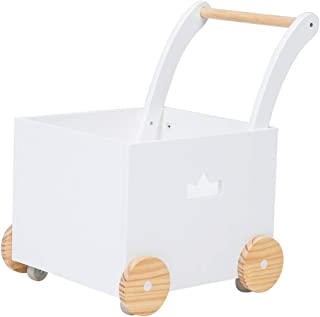 Crown Children 2-in-1 white Wooden Baby Activity Walker Strollers with Blocks, Toddler Baby Push Pull Trolley Toy Walker with Wheels for Girls Boys 1-3 Years Old, Wagon Toy walkers Sturdy Construction