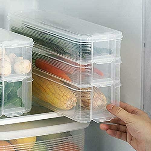LACKINGONE Almacenamiento de Comida para Frigorífico Recipiente Plástico de 3 capas Recipiente...
