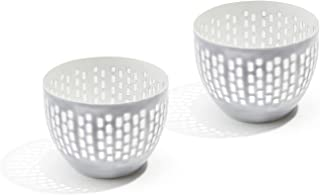 LampLust Tea Light Candle Holder Bowls - Grey Enamel with Decorative Cut Outs, Fits Tealight or Votive Candles, Distressed...