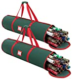 Christmas Wrapping Paper Storage Bag Set (2 Pack), Gift Wrap Organizers, Wrapping Paper Holder, Fits Up to 20 Standard Rolls, with Tear-Proof 600D Oxford Material, Dual Zippers & Carry Handles