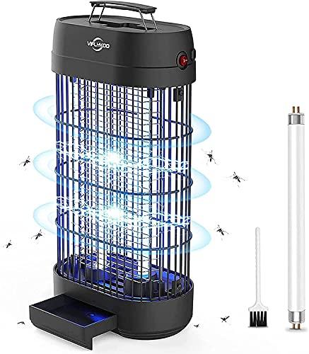 VIFLYKOO Assassino Elettrico per Insetti, 18W 80㎡ UV Trappola per Insetti Antizanzare Lampada Anti-elettrica Elettrica Antizanzare,1500-1800V Efficace per Uccidere Le Zanzare