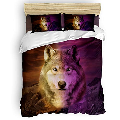 Duvet Cover Set 4 Pieces,Super Soft Bedding Down Comforter Cover with Zipper Closure, Machine Washable Breathable Microfiber Polyester Duvet Cover,Wolf Twin