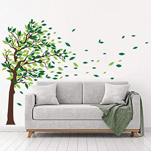 decalmile Pegatinas de Pared Arbol Verde Vinilos Decorativos Hojas Infantil Salón Dormitorio Decorativos Adhesivos (L, Verde, Derecho)