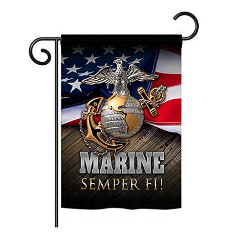 Angeleno Heritage Marine Semper Fi Garden Flag Armed Forces USMC United State American Military Veteran Retire Official House Decoration Banner Small Yard Gift Double-Sided, Made in USA 13 X 18.5