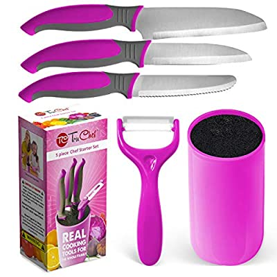 Kids Knife Set For Cooking – 5 Piece Kids Cook Set in Pink – Kids Cooking Supplies with Kids Chef Knife, Kids Paring Knife, Kids Peeler, Kids Scissors & Universal Holder – TruChef