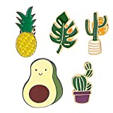MJartoria Cute Pins for Backpack-Cartoon Cactus Pineapple Enamel Cool Brooch Pin Badges Set for Backpack Clothes Bags Novelty Pins Enamel Pin Set Aesthetic Pins (Avocado Cactus Pineapple-Green)