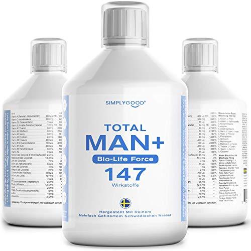 Total Man Vital Mikronährstoffkonzentrat Flüssig mit Multivitamine, Mineralstoffe, Spurenelementen und Pflanzenstoffen - 147 Inhaltsstoffe für Energie, Immun Boost, Gewichtskontrolle und Mehr