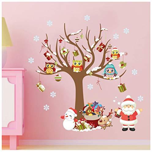 huayao Arbre De Noël Dessin Animé Flocons De Neige Hibou Stickers Muraux Enfants Enfants Chambre Fenêtre Amovible Maison Nouvel an Décoration Décalcomanies
