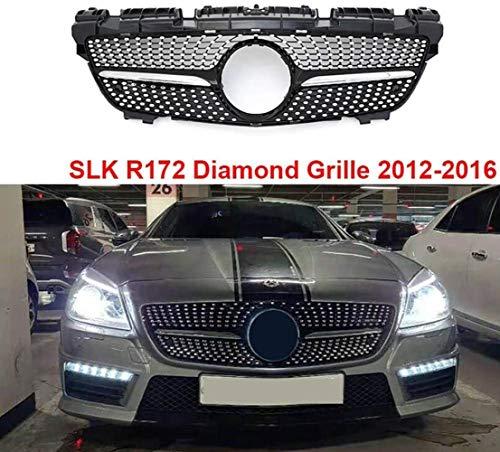 XKCCHW SLK-Klasse R172 Diamantgrill Frontstoßstange Ersatzgitter für Mercedes-Benz SLK200 SLK250 SLK350 2012–2016