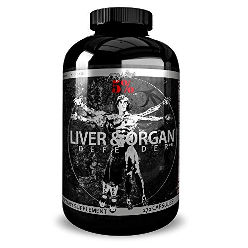 Rich Piana 5% Nutrition Liver & Organ Defender, On Cycle Support for Bodybuilding | Heart, Prostate, Kidney, Skin | Milk Thistle, NAC, L-Glutathione, ALA, CoQ10, Zinc, 270 Capsules (30 Day Supply)