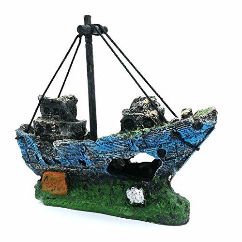 LIAMTU Aquarium Fish Tank Decoration Boat Resin Plastic Plant Decor Perfect for 10 Gallon Miniature Tank