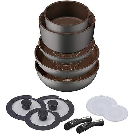 【Amazon.co.jp限定】 アイリスオーヤマ フライパン 鍋 セット フライパンセット ガス火 IH対応 12点 ダイヤモンドコート ダイヤモンドコートパン 取っ手のとれる 軽量 こびりつかずにお手入れ簡単 H-IS-SE12