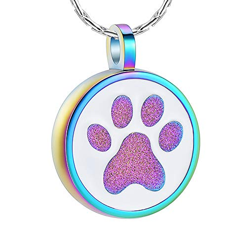 constantlife Cremation Jewelry for Pet Ashes Paw Print Round Urn Pendant Memorial Necklace Stainless Steel Keepsake for Dog Cat Colorful