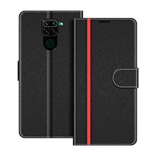 COODIO Handyhülle für Xiaomi Redmi Note 9 Handy Hülle, Xiaomi Redmi Note 9 Hülle Leder Handytasche für Xiaomi Redmi Note 9 Klapphülle Tasche, Schwarz/Rot