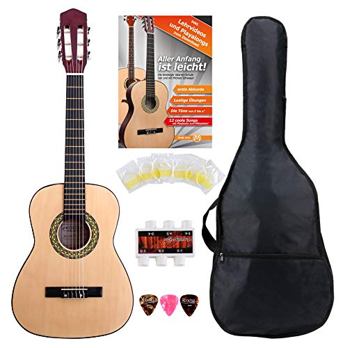Classic Cantabile Acoustic Series AS-851-L Klassikgitarre 1/2 für Linkshänder Starter-SET (Konzertgitarre, Bag/Tasche, Schule, Plektren, Saiten, Stimmpfeife) natur