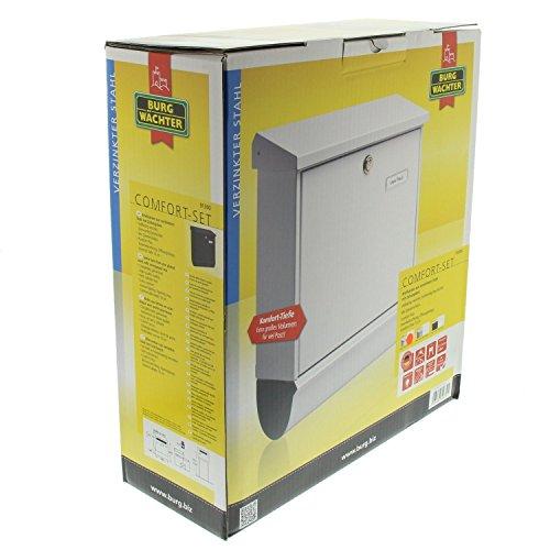 BURG-WÄCHTER, Briefkasten-Set mit integriertem Zeitungsfach, A4 Einwurf-Format, Verzinkter Stahl, Comfort-Set 91300 S, Schwarz - 6