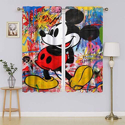 Mickey-Mouse - Cortinas opacas con ojales y aislamiento térmico para mantener la habitación caliente para sala de estar o dormitorio (63 x 63 pulgadas)
