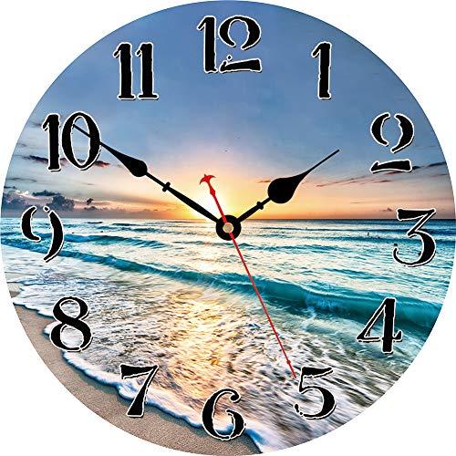 VIKMARI silenciosa del Reloj de Pared para no tictac, Cuarzo excelente Barrido Movimiento preciso de Madera del Reloj de Pared 14 Inch Ola del océano