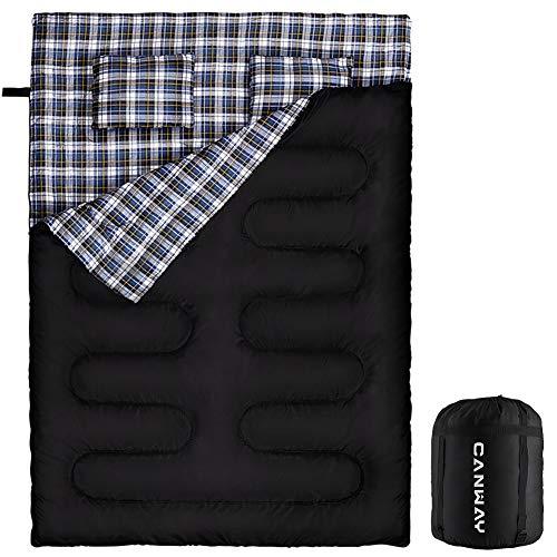 CANWAY 寝袋 2人用 防水シュラフ スリーピングバッグ 封筒型 キャンプ 最低使用温度-3℃ 連結解体可能 枕2つ...