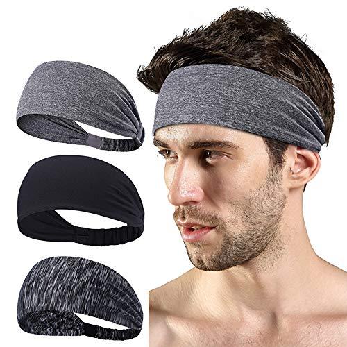 LATTCURE Sporthoofdband, hoofdband, 3 stuks, sporthoofdbanden, zweetband, antislip voor joggen, hardlopen, yoga, tennis…
