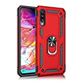 Case Compatible with Samsung Galaxy A70 Case Hard Shell Military Grade Duty Cover with Holder 360°Rotating Ring Grip cCases for Magnetic Car Mount (Red)