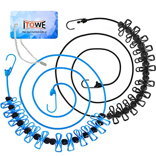 iTOWE 2Pack Portable Clothesline with 12 Pins Travel Clothesline Retractable Elastic Laundry Clothes Line with 12 Clothespin for Backyard Vacation Hotel Balcony Clothes Drying Line Camping Accessories