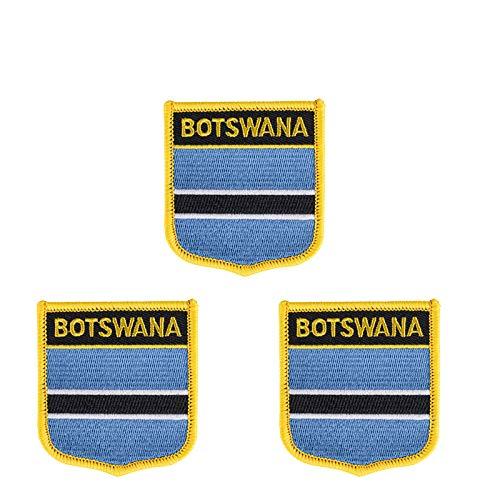 Aufnäher mit Botswana-Flagge, bestickt, Schild-Form, zum Aufbügeln oder Aufnähen, 3 Stück