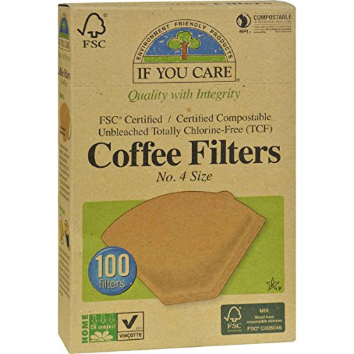 If You Care 100-Count No. 4 Cone Brown Coffee Filters, 12-Pack (1,200 Filters in Total)
