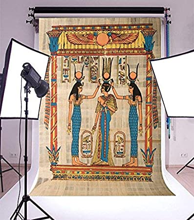 SZZWY 7x5FT Vinyl Photography Background Antique Egyptian Papyrus and Hieroglyph Wall Drawing Figures Pattern Backdrops Adults Wedding Party Photographic Shooting Video Studio Props 2.2x1.5m