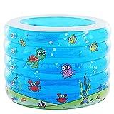 HEROTIGH Aufblasbare Pools Planschbecken Baby Pool Fünf Ring Dick Aufblasbar Kinder 106X75Cm Schwimmbecken