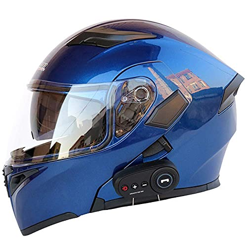 DXMRWJ Cascos de motocicleta, certificación FM, cascos de turismo con doble altavoz integrado Bluetooth con micrófono para respuesta automática, C, XXL