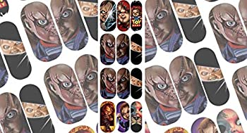 Nail Gang Horror Movie Scary Nail Art Decals Day of The Dead Gothic Nail Stickers Chuckie Friday 13 Jason Freddy Nightmare Scream Halloween Nail Decoration kit Water Slides Nail Art Stickers DIY  H